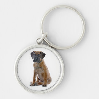 Love Great Dane Puppy Dog Silver-Colored Round Key Ring