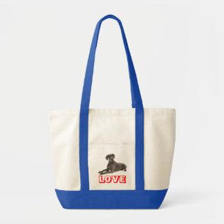 Love Great Dane Puppy Dog Tote Bag Impulse Tote Bag