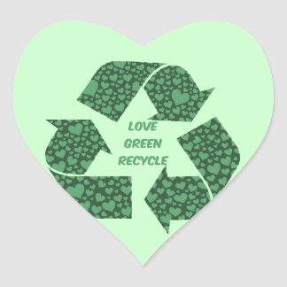 love green recycle heart sticker