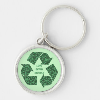 love green recycle Silver-Colored round key ring