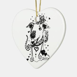 Love Greyhounds Ceramic Ornament