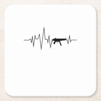 Love Gun Heartbeat Cool Gifts Square Paper Coaster
