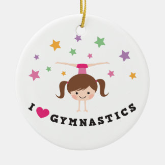 Love gymnastics cartoon girl brown hair handstand ceramic ornament