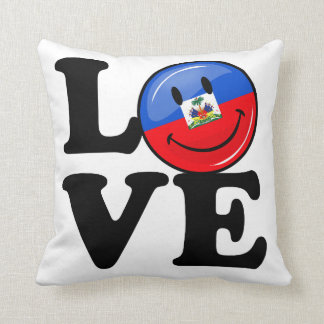 Love Haiti Smiling Flag Throw Pillow