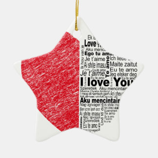 love, half color and text design heart ceramic star decoration