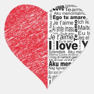 love, half color and text design heart heart sticker