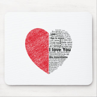 love, half color and text design heart mouse pad