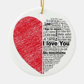 love, half color and text design heart round ceramic decoration