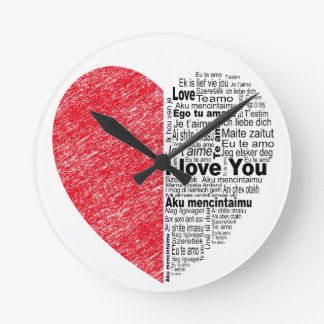 love, half color and text design heart round clock