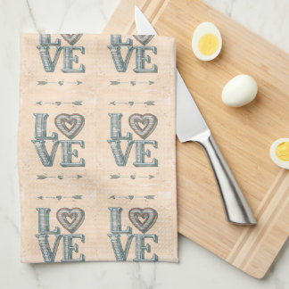 LOVE, hand drawn with arrows and heart - kitchen Tea Towel