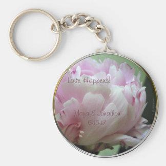 Love Happens Pink Peony Wedding Favor Keychain