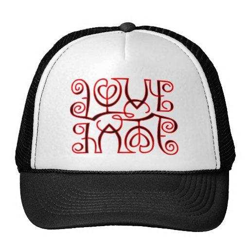Love Hate Optical Illusion Mesh Hat