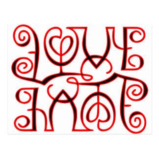 Love Hate Optical Illusion Postcard