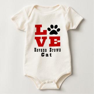 Love Havana Brown Cat Designes Baby Bodysuit