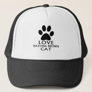 LOVE HAVANA BROWN CAT DESIGNS TRUCKER HAT