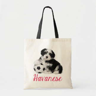Love Havanese Puppy Dog Canvas Totebag Budget Tote Bag