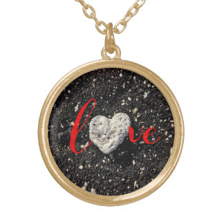 """""""Love"""" Hawaii Black Sand Beach & Coral Heart Photo Gold Plated Necklace"""