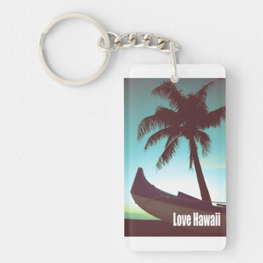 Love Hawaii Rectangle Acrylic Keychains