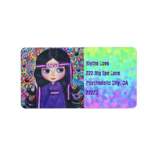 Love Headband Hippie Girl Doll Purple Psychedelic Address Label
