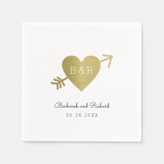 love heart arrow and names, wed personalised paper napkins