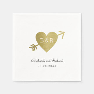 love heart arrow and names, wed personalized paper napkins