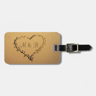 Love Heart at the Beach Just Married Luggage Tag