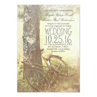Love heart birch tree and bicycle rustic wedding card
