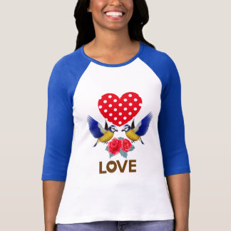 Love - Heart, Birds and Roses T-Shirt