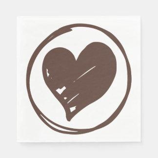 Love Heart Brown & White Wedding, Bridal Shower Disposable Napkins
