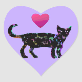 Love Heart Cats Heart Sticker