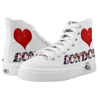 Love Heart City London UK Flag Colors Funny Printed Shoes