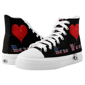 Love Heart City New York USA Flag Colors Funny Printed Shoes