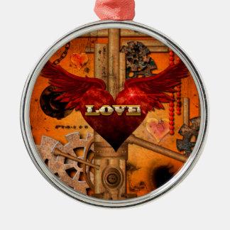 Love, Heart Silver-Colored Round Ornament