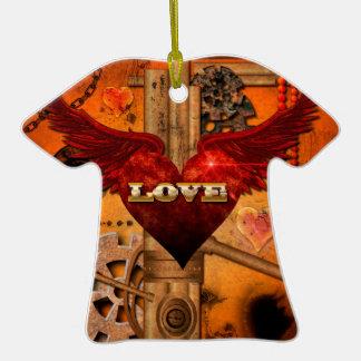 Love, Heart Ceramic T-Shirt Ornament