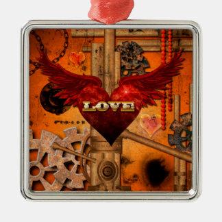 Love, Heart Silver-Colored Square Ornament