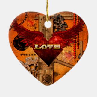 Love, Heart Ceramic Heart Ornament