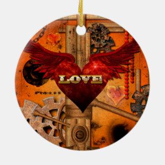 Love, Heart Round Ceramic Ornament