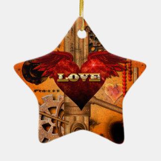 Love, Heart Ceramic Star Ornament