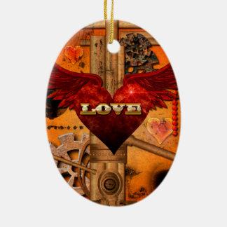 Love, Heart Ceramic Oval Ornament