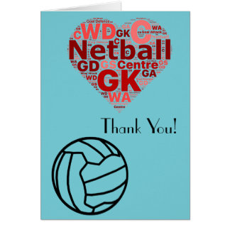 Love Heart Design Netball Thank You Card