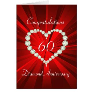Love Heart Diamond 60th Anniversary Greeting Card
