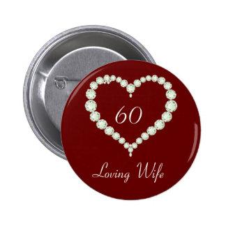 Love Heart Diamond Anniversary 6 Cm Round Badge