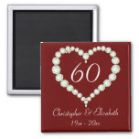 Love Heart Diamond Anniversary Memento Square Magnet