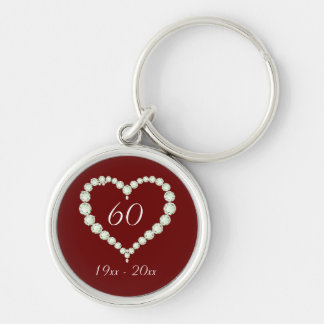 Love Heart Diamond Anniversary Silver-Colored Round Key Ring