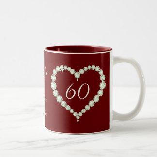 Love Heart Diamond Wedding Anniversary Memento Coffee Mug
