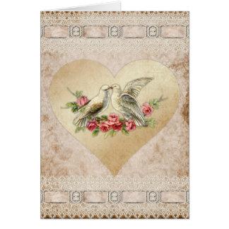 Love Heart Doves Vintage Valentine Card