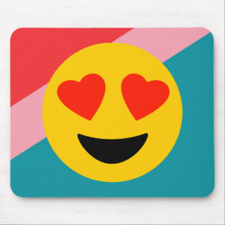 Love Heart Emoji On Stripes Mousepad