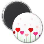 Love Heart Field 6 Cm Round Magnet