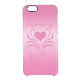 Love Heart Flair Curlicue Stencil Pick Any Color Clear iPhone 6/6S Case