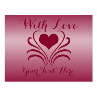 Love Heart Flair Curlicue Stencil Pick Any Color Post Card